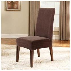Surefit Brown Short Stretch Pinstripe Dining Chair Cover Sli
