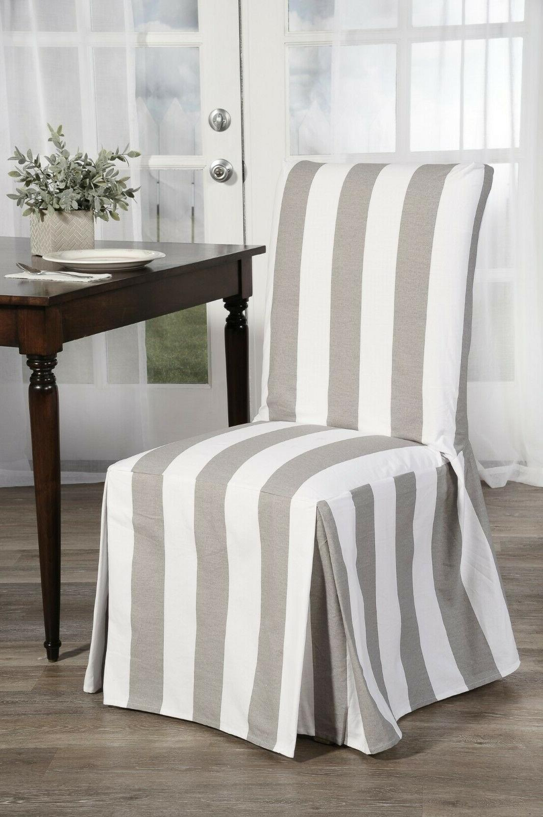 cabana stripe long dining chair covers set