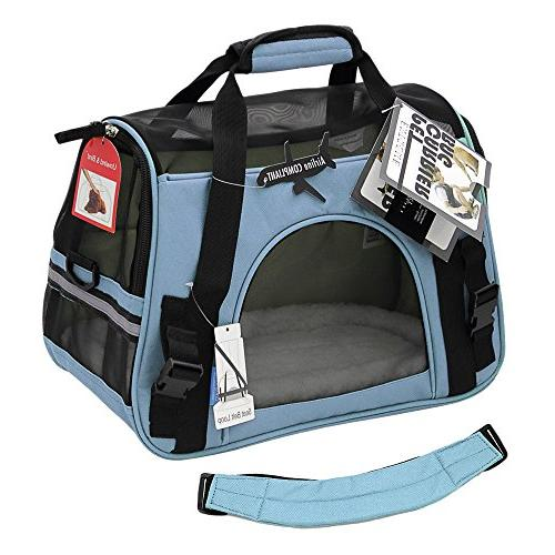 OxGord Comfortable Carrier Soft-Sided Pet Mineral Blue