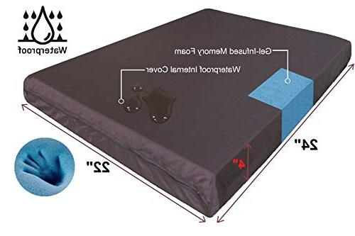 QQbed 2 Pack Seat Gel Cooling Memory Foam Seat Cushions Waterproof Cover - Extra Large