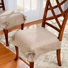 New! Sure Fit Dining Chair Seat Covers Chenille Tan
