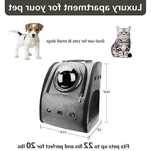 PETRIP Backpack Cat Backpack Cats lbs Carrier Backpack Dogs Carrier Bubble Approved Pet Pet Knapsack(Ash Black