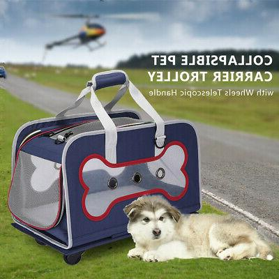 dog carrier trolley with wheels telescopic pet