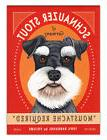 Retro Dogs Refrigerator Magnets - Schnauzer Stout - Vintage