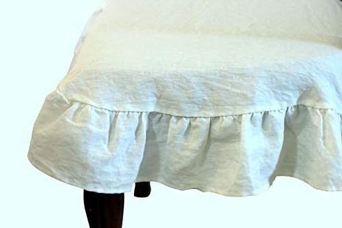 100% Linen Room Chair Cover with Ruffle in White