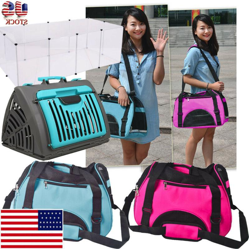 foldable travel cat carrier front door plastic