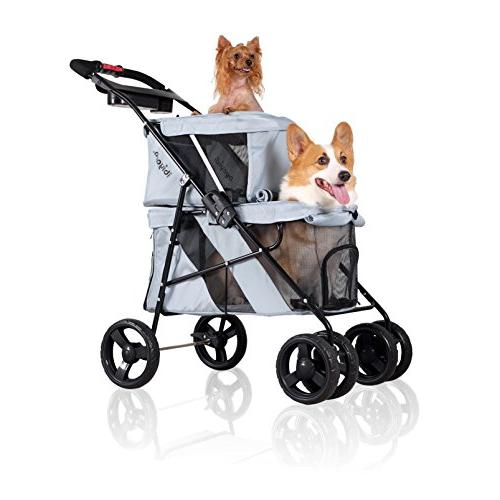 ibiyaya 4 Pet Stroller for and Cats, for Twin or Multiple Travel