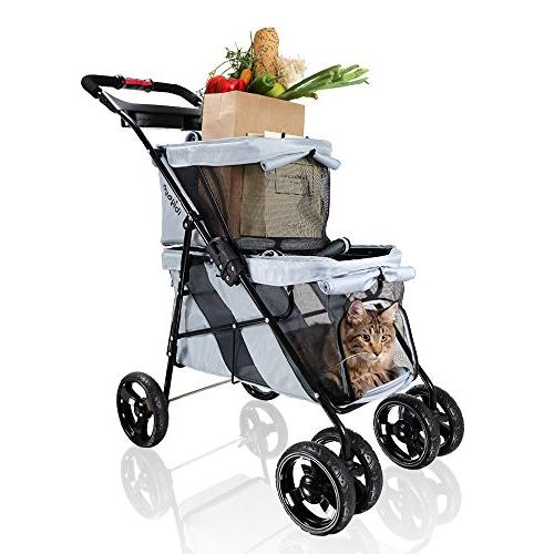 ibiyaya Pet Stroller Dogs and for Twin pet Travel