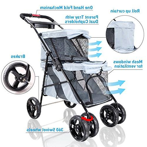 ibiyaya 4 Double Pet Stroller and Cats, Great for Twin Multiple Travel