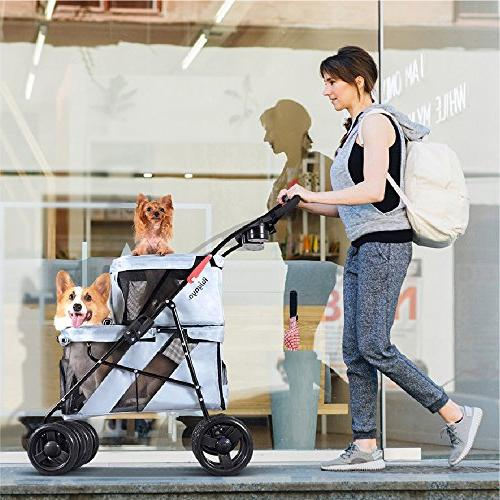 ibiyaya 4 Pet Stroller Dogs and Cats, Great Travel