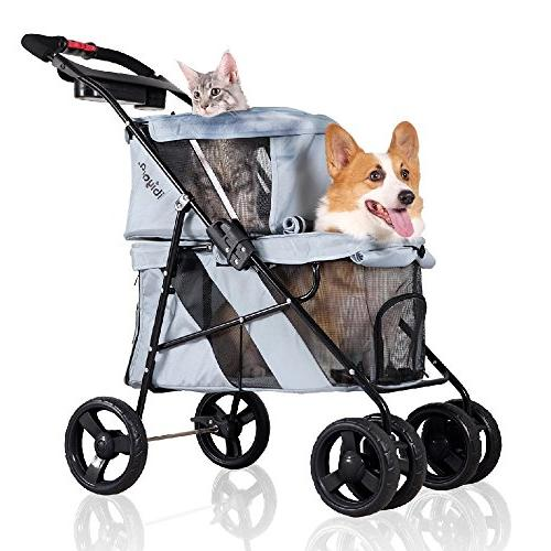ibiyaya 4 Wheel Double Pet Stroller for Dogs and Cats, Great
