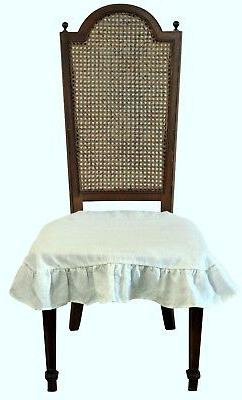 Linen Dining Room Chair Seat Cover Slipcover 4 sided Ruffle