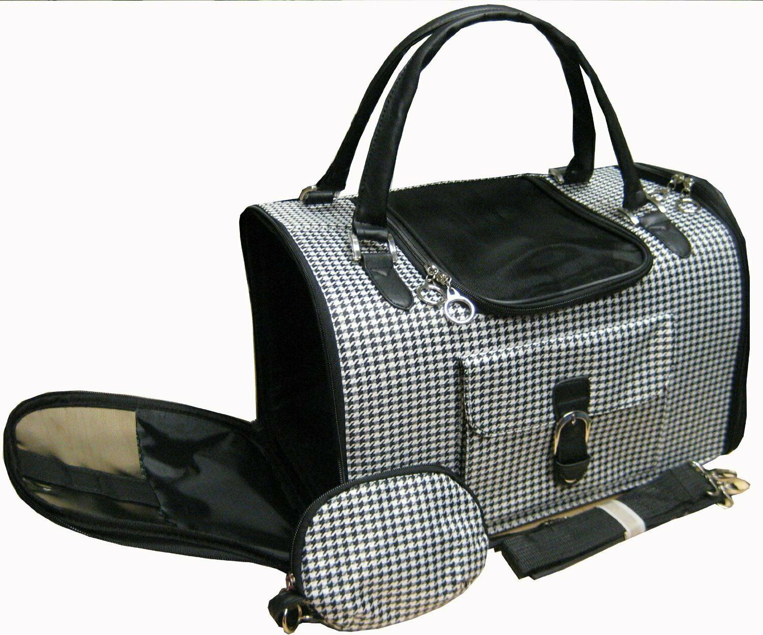 NEW Pet Cat/Dog Soft Hounds-tooth Travel Carrier/Tote/Should