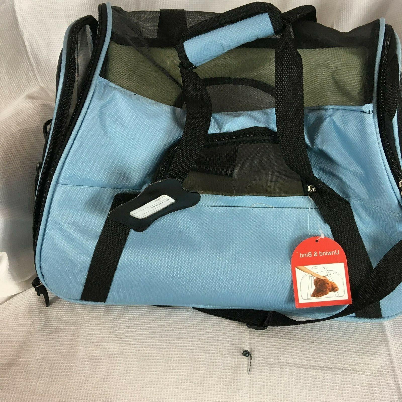 Pet Carrier mineral blue, Oxgord airline NWT, large to 10 lbs