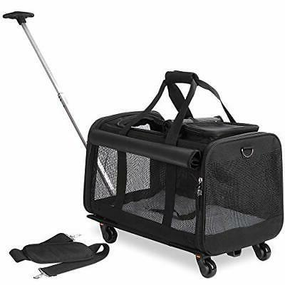 pet carrier with detachable wheels for small