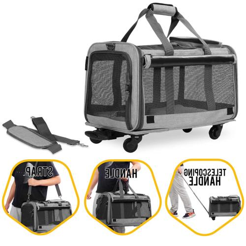 KOPEKS Pet Carrier with Detachable Wheels and Medium Cats -