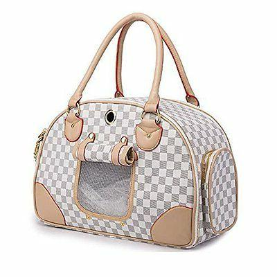 WOpet® Fashion Pet Dog Carrier PU Leather Dog Carriers Luxu