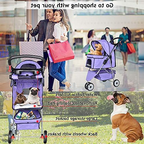 Pet Dog Cage 3 Wheels Stroller Strolling Cart with 35Lbs Capacity Stroller Small-Medium Dogs, Cats