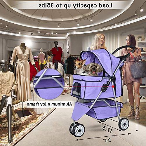 Pet Jogger Dog Cage Stroller Travel Folding Strolling Holders and 35Lbs Large Stroller for Dogs,