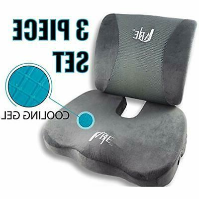 SET: Lumbar Support Pillow and Seat Cushion for Office Chair