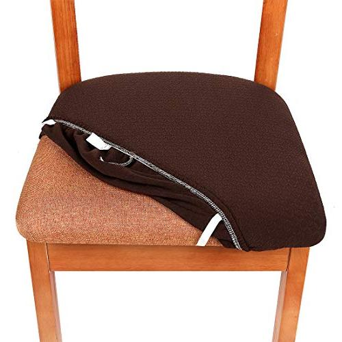 Smiry Spandex Dining Seat Covers, Cushion of 4, Chocolate