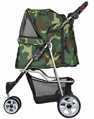 VIVO Three Wheel Stroller / & Dog Carrier Cart Camo