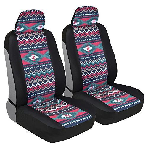 two tone pattern car seat covers sideless