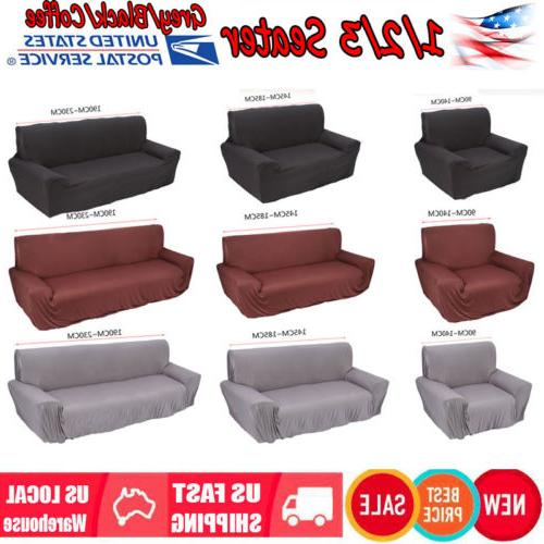 US 1 2 3 Seat Sofa Cover Slipcover Stretch Elastic Couch Fur