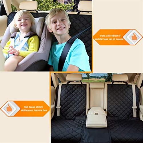 YESYEES Waterproof Dog Car Seat Pet Cover Nonslip Bench Seat Cover Compatible Seat Belt and Fits Most
