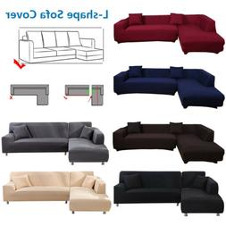 L-Shape Sofa Covers Sectional  2 pcs Stretch Sofa Slipcovers