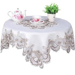 FASHSEX Lace Doily Table Topper 35 Inch Cocoa Brown Neutrals
