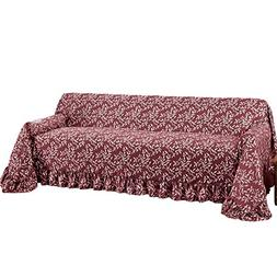 Leaf Design Furniture Protector Throw Cover With Ruffled Bor
