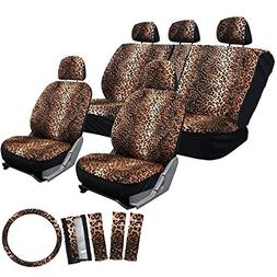 Motorup America Leopard Auto Seat Cover - Orange, Animal Pri