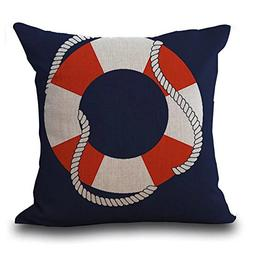 Famulei Lifeboat Sailboat Anchor Print Throw Pillow Cover Co