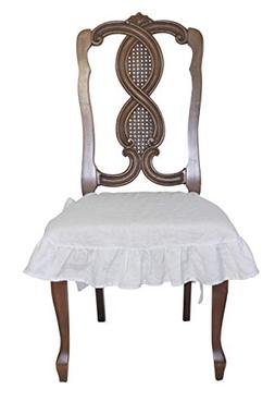 Dining Beautiful Linen Chair Seat Cover 4 Sided Ruffle Large