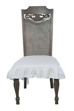 Linen Dining Room Chair Seat Cover Slipcover 3 sided Ruffle