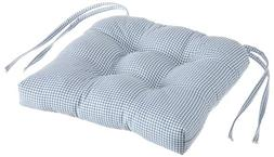 Logan Gingham Check Print Cushioned Chair Pad, Blue