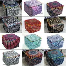 """Lot of 18"""" Indian Handmade Square Ottoman Pouf Cover Cotton"""