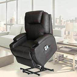 U-MAX Recliner Power Lift Chair Wall Hugger PU Leather with