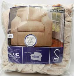 New! Maytex Reeves Stretch Chair Slipcover Natural 2-Piece