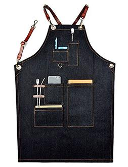 Bhome Men's Utility Apron Multi-Use Shop Apron with Pockets