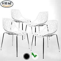 UrbanMod Modern Dining Chairs , White Chairs, Kid-Friendly B