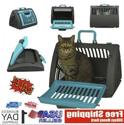 NEW Foldable Travel Cat Carrier Front Door Plastic Collapsib