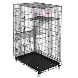 New Large Folding Collapsible Pet Cat Wire Cage For Indoor O