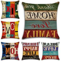 New Throw Pillow Case Retro Letters Waist Back Cushion Cover
