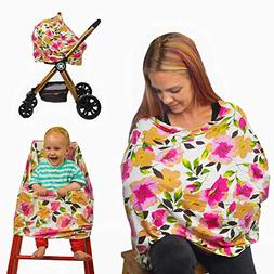 Nursing Breastfeeding Cover Scarf with Floral Watercolour De