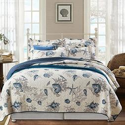 Alicemall Ocean Theme Bed in a Bag Blue Shell and Starfish P