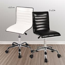 Office Chair Ribbed PU Leather Adjustable Rolling Swivel Off