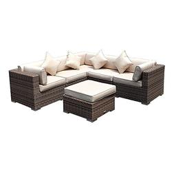 7 Piece Outdoor Patio Wicker Sectional Furniture Set All-Wea