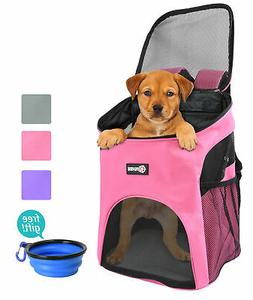 Dog Cat Pet Carrier Backpack w Mesh Pup Pack Breathable for